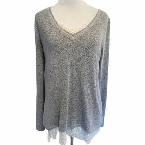 WHBM Gray With Cream Lace Trim Sweater Size S